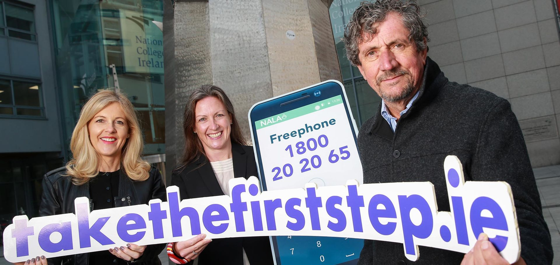 Sinead Moriarty Irish author Dr Inez Bailey CEO NALA and Charlie Bird at the launch of Take The First Step 2018